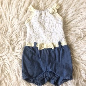 Baby Girl Lace & Chambray Romper